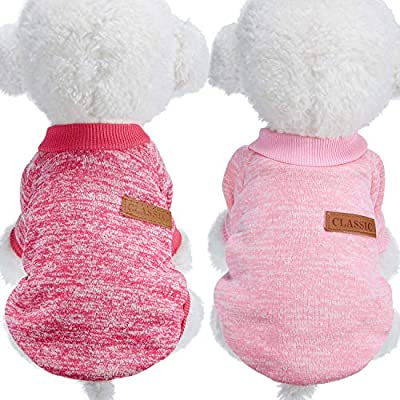SATINIOR 2PiecesPetClothingWinterPuppyClassicWarmCoatWinterPuppySweaterPuppyKnitwearClothes for Medium and Small Dogs (L, Rosy Red, Pink)