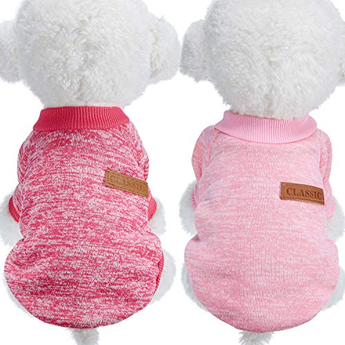 2 Pieces Pet Clothing Winter Puppy Classic Warm Coat Winter Puppy Sweater Puppy Knitwear Clothes (M, Rosy Red, Pink)