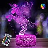 Regalo de Unicornio Luz de Noche para Niños, Lámpara de Luz 3D 7 Colores Cambian con Control Remoto, Ideas de Festivo y Regalos para Niños Niñas y Adultos (unicornio9)