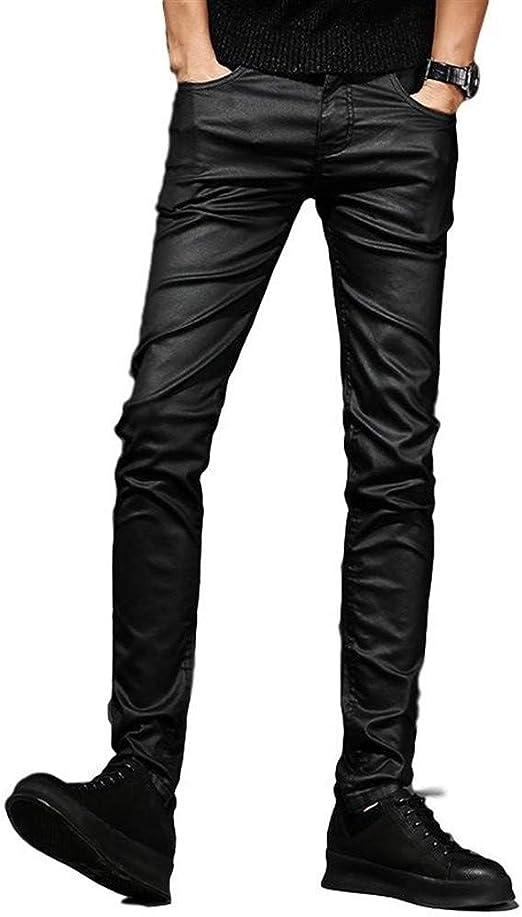 Suiwo Jeanshosen Männer Slim Denim Jeans Herren Motorrad Jeans Schwarz Beschichtet Jeans Gewachste Punk Style Slim Fit Biker Denim Hosen Color Black Size 33 Küche Haushalt