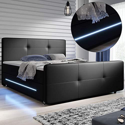 ArtLife Boxspringbett Oakland 180 x 200 cm – LED Beleuchtung, Bonell-Matratzen, Topper & Kunstleder – 58 cm Komforthöhe – schwarz – Bett Doppelbett