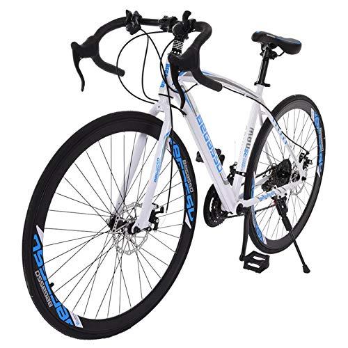 NewSkang Drop Bar Road Bicycle for Men and Women,Aluminum Full Suspension Road Bike 21 Speed Disc Brakes, 700c Wheels,Carbon Fiber Fork,High Carbon Steel Frame