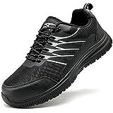Zapatos de Seguridad para Hombre con Puntera de Acero Zapatillas de Seguridad Trabajo, Calzado de Industrial y Deportiva(F Negro,43 EU)