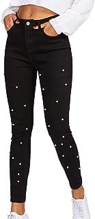1f94d49a0500a Huateng Jeans pour Femmes avec Perles et Pantalons Taille Basse en Jean  Taille Haute pour Femmes
