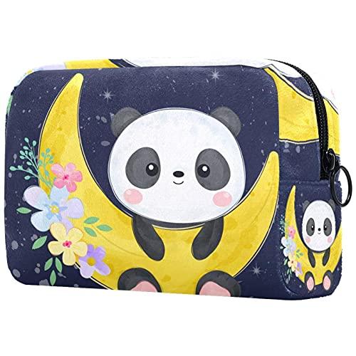 Neceser Maquillaje Portátil Lindo bebé Panda Bolsa de Maquillaje Organizador de Maquillaje Bolso de Cosméticos de Viaje para niñas y Mujeres 18.5x7.5x13cm