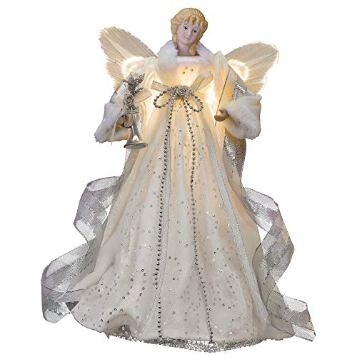 Valery Madelyn 15.7 Inch Frozen Winter Silver White Christmas Angel Tree Topper, Angel Tree Top with 10 Warm LED Lights, Battery Operated (Not Included)