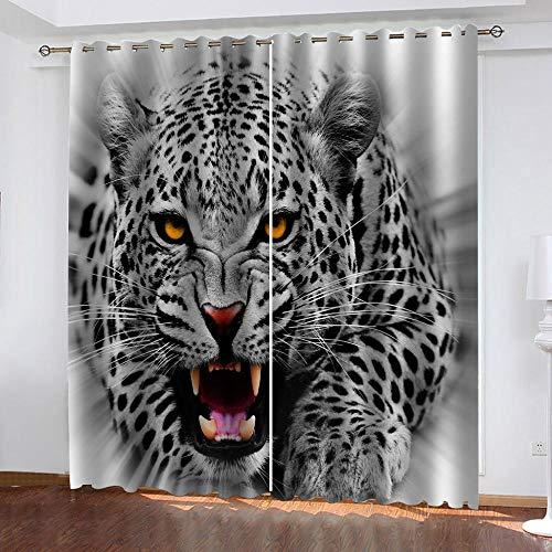 MXYHDZ Opacas Cortinas Dormitorio - Leopardo Animal Blanco y Negro Impresión 3D Aislantes de Frío y Calor 90% Opacas Cortinas - 160 x 160 cm Salon Cocina Habitacion Niño Moderna Decorativa