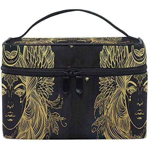 Make-uptas Egypt Moon Women Gold illustratie draagbare cosmetische toilettas Train Case Organizer Box Pouch
