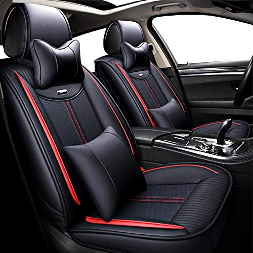 Wmxcz Car Seat Cover Sets,Universal Artificial Leather Waterproof Nonslip Cushion Protector Set 5 Seaters 9 Piece Set (Color, Red),Red