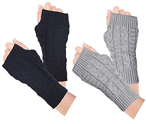 Loritta 2 Pairs Womens Fingerless Gloves Winter Warm Knit Crochet Thumbhole Arm Warmers,A Black+Light Gray(2 Pairs)
