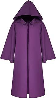 LETSQK Men's Tunic Hooded Robe Cloak Knight Fancy Halloween Cosplay Costume