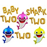 Baby Shark Balloon Banner Baby Shark Two Two Two 16' Letter Balloons 2nd Baby Shark Birthday Decorations For Second Baby Boys Girls