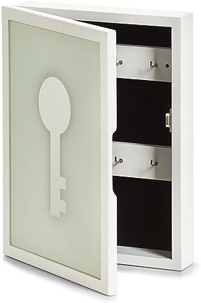 Entrée Ameublement et décoration Zeller 13841de clés/Memo Box Key MDF/Verre Armoire à clés MDF Blanc 22x 5x 30CM