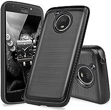 TJS Phone Case for Motorola Moto E4 Plus, Dual Layer Hybrid Shock Absorption Case Carbon Fiber Metallic Brush Finish Back Hard TPU Inner Layer (Black)