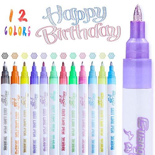 Bolígrafos de Contorno de Doble Línea, 12 Colores Rotuladores Purpurina de Doble Línea Pluma para Álbumes de Fotos, Ggarabatos, Dibujar Manualidades(2mm)