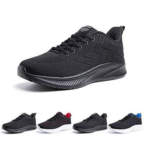 Zapatillas Running Hombre Bambas Zapatos para Correr y Asfalto Aire Libre y Deportes Calzado Casual Tenis Outdoor Gimnasio Sneakers Negro Gris Azul Número 38-48 EU Negro 42