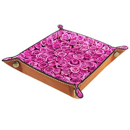 Bandeja de Cuero - Organizador - Rosa - Práctica Caja de Almacenamiento para Carteras,Relojes,llaves,Monedas,Teléfonos Celulares y Equipos de Oficina