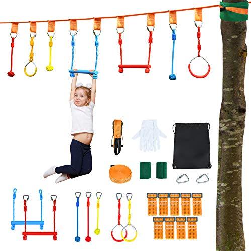 COSTWAY 13M Kinder Slackline hängende Hindernisse Klettergerüst Ninja-Hindernis-Set Trainingsgerät 100kg Tragkraft, Hindernisparcours für den Garten, Outdoor-Einsatz