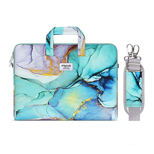 MOSISO Laptop Shoulder Bag Compatible with MacBook Pro 16 inch A2141 Pro Retina A1398, 15-15.6 inch Notebook, Carrying Briefcase Sleeve with Trolley Belt Marble MO-MBH189