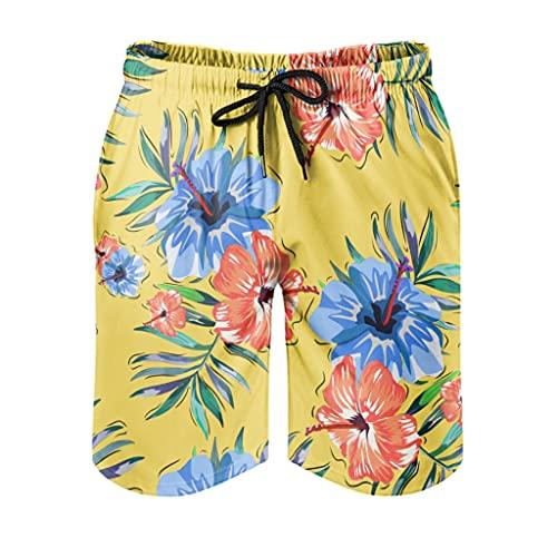 Ktewqmp Zomer zwembroek Tropische Bloem Geel Mannen Zwembroek Zwembroek met zakken Oversized