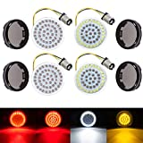 """Amazicha 2"""" LED Turn Signals , Bullet Style 1157 White Amber Front Turn Signal Bulb + 1157 Red Rear Turn Signal Light , 4 PCS Smoke Lens Compatible for Harley Softail Dyna Sportster Touring"""