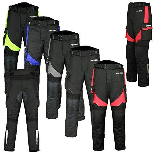 REXTEK Pantalones de motociclista para motocicleta, impermeables, extraíbles, de cordura, con bolsillo, largos, armadura, para hombres y mujeres, niños y adultos
