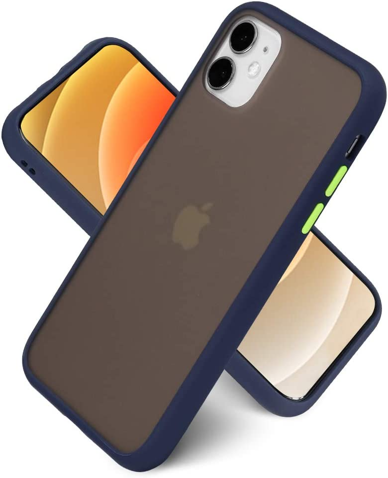 LITTLETREE Compatible with iPhone 11 Case Matte Translucent, Clear Black   Anti-Scratch   Smooth Feel  Slim TPU Silicone Bumper Protective Cell Phone Case 6.1 Inch. (Navy Blue)