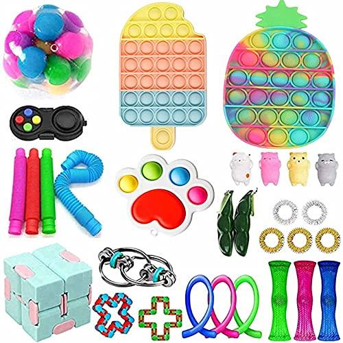GBSELL Fidget Toys Set,Cheap Sensory Fidget Toys Pack, Push Bubble Pop Fidget Toy Set, Stress Relief Fidget Pack for Kids Adults (Fidget Toys Set H)
