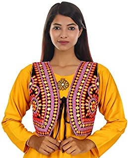 Trendish Women's Cotton Kutchi Designer Mirror Work Jacket/Koti (Black_Medium)