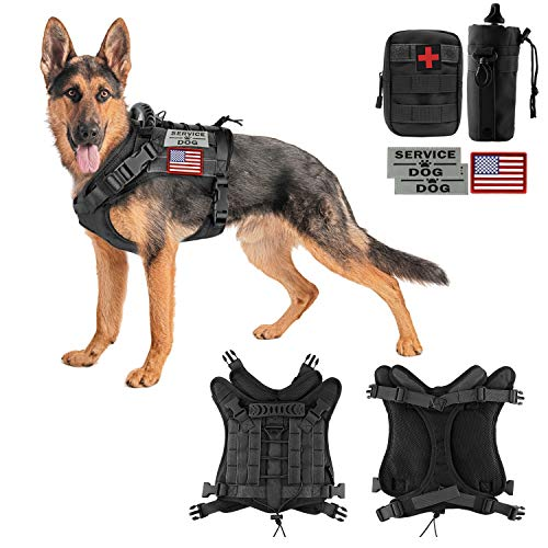 Tactical Dog Vest-Training Outdoor Breathable Harness-Military Water-Resistant Dog Backpack-Pet Tactical -Vest Detachable Pouches-D Ring for Dog Leash (XL, 02Black)