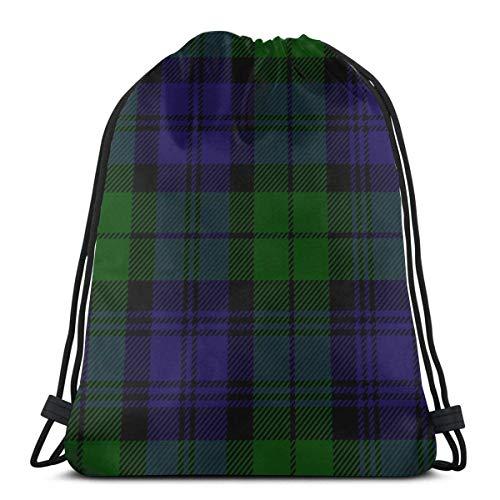Lsjuee Scottish Plaid Green Black Blue Campbell Drawstring Backpack Multi Pocket String Bag Large Capacity Waterproof Gym Sports