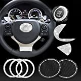 JINGSEN Bling Car Steering Wheel Decorative Diamond Sticker, Bling Car Steering Wheel Logo for Women Bling Accessories for Lexus ES RX LS is CT LX GS LC RC GS-F RC-F,with 2 Pack Silicone Car Coaster