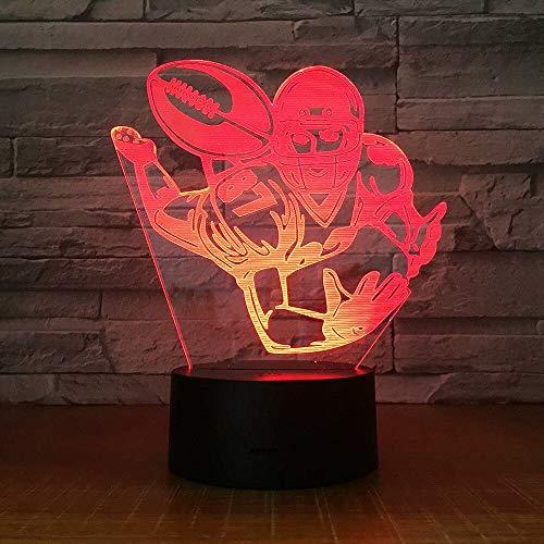 Jiushixw 3D acryl nachtlampje met afstandsbediening van kleur veranderende tafellamp voetbal start enkele athlet kamer string zon paars geschenk tafellamp snoerloos