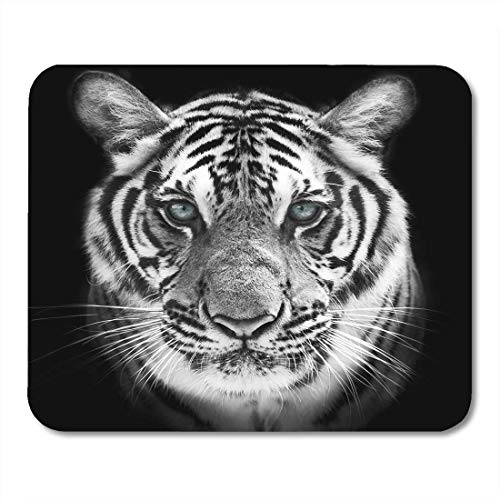 AOHOT Mauspads Face of White Bengal Tiger Mask The Biggest Cat Wild Beauty Most Dangerous and Mighty Beast Mouse Pad Mats 9.5