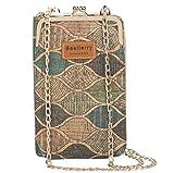 MILASIA Práctico bolso bandolera para mujer, de corcho, pequeño, para teléfono móvil de menos de 7 pulgadas