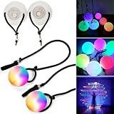 Nani?Wear 2PC LED 7 Colors Poi - Glow Poi - Multi Function LED Glow Poi Professional Rainbow Fade and High Strobe Spinning LED Glow Toy Light Up Balls