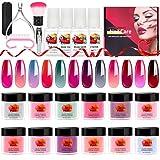 TopDirect 12 Boxs Cambia Colore Polvere Unghie Effetto Specchio Polvere Acrilico Nail Art Pigmento Glitter Polvere per Unghie Adatto a principianti ed proffesional, Nessuna Lampada UV Richiesta