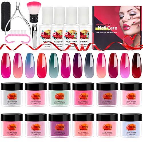 TopDirect 12 Farben Farbwechsel Dip Pulver Nagel Starter Kit Acryl Tauchsystem Klarflüssiges Acryl-Pigmentpulver für French nail art Set (Kommt mit Base, Aktivator, Top, Brush Saver)