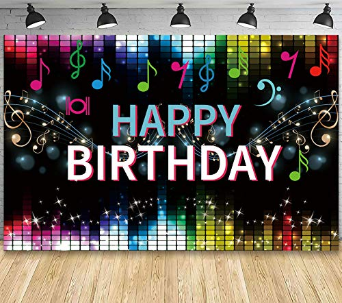 TIK Tok Happy Birthday Fabric Sign Poster Banner Backdrop with Fashion Music Notes Bright Stars for Birthday Photo Booth Background Party Decorations Supplies