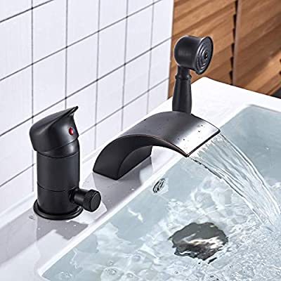 Senlesen Oil Rubbed Bronze Deck Mounted Contemporary 3-Hole Waterfall Roman Tub Filler Faucet with Hand Shower