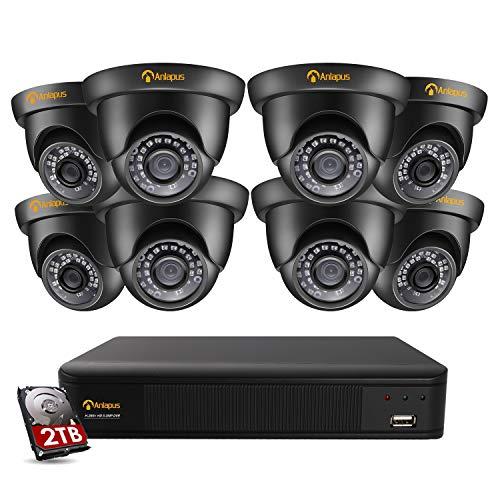 Anlapus 8CH 5MP H.265+ Kit de Cámaras Vigilancia 8 Cámaras de Seguridad 2TB Disco Duro, 20M Visión Nocturna, Detección de Movimiento