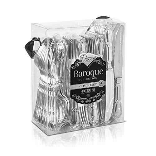 Decorline - Posate in Plastica Rigida, Dura E Resistente - Finitura Argento - Stile Barocco - Posate USA e Getta Eleganti - 80 Pezzi
