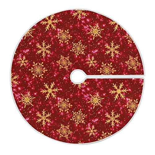 Mnsruu Goldene Schneeflocke Weihnachtsbaum Rock Schnee Baum Röcke für Weihnachten Urlaub Dekorationen (90cm)