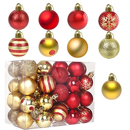 LIHAO 50pz Palline Palle di Natale, Decorazioni Albero di Natale Decorazioni e Pendenti Ciondoli Ornamenti Nozze Casa (4 cm, Oro e Rosso)