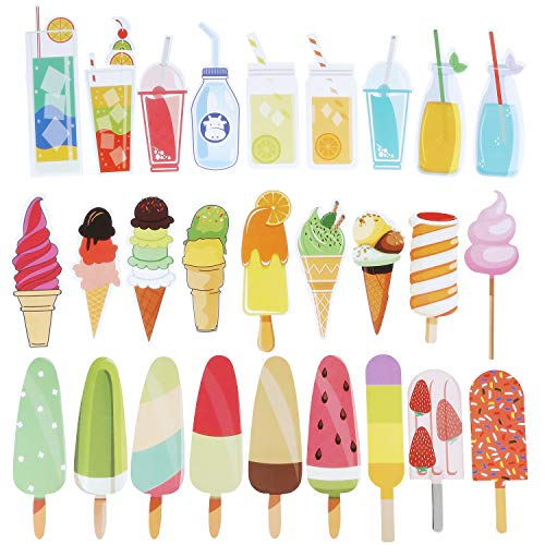Blulu 60 Pieces Summer Bookmarks Cold Drink Theme Bookmarks Cute Colorful Dessert Bookmarks for Students Kids Adults (Color 1)