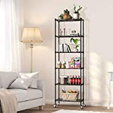 NATRKE 6-Tier Storage Shelf Wire Shelving Unit, Adjustable Heavy Duty Storage Shelves for Kitchen Organization, with Leveling Feet and Lockable Wheels, Black (21.26 Lx12 Wx69 H)