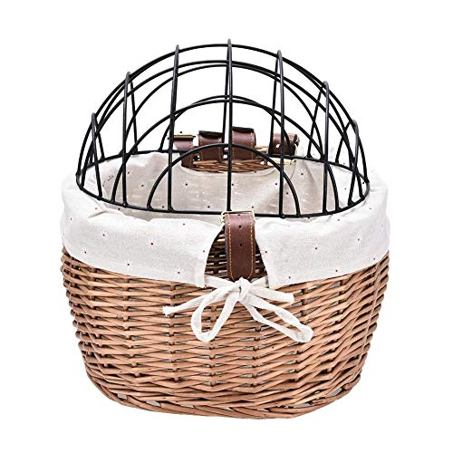 Dog Bike Carrier Basket For Bicycle Dogs -Pet Bicycle Basket,Small Cat Dog Woven Bike Basket - Front Handlebar Wicker Bicycle Basket Easy Install Detachable,Pet Carrier For Adult Boys Girls Bike