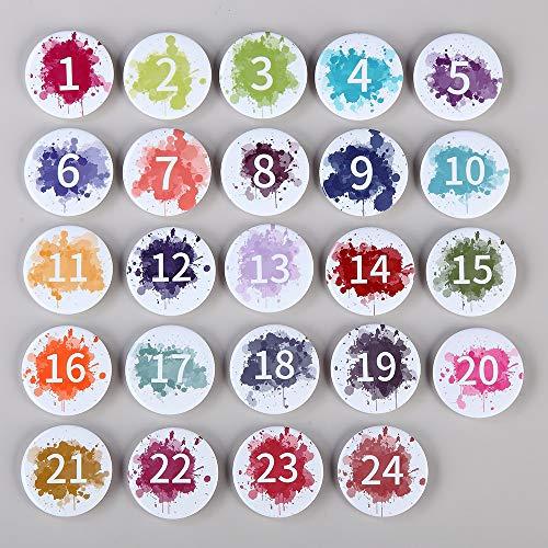 Cojoy 24 Stück Adventskalender Buttons, Weihnachts Adventskalender 24 mit Stiften für DIY Weihnachts geschenktüte