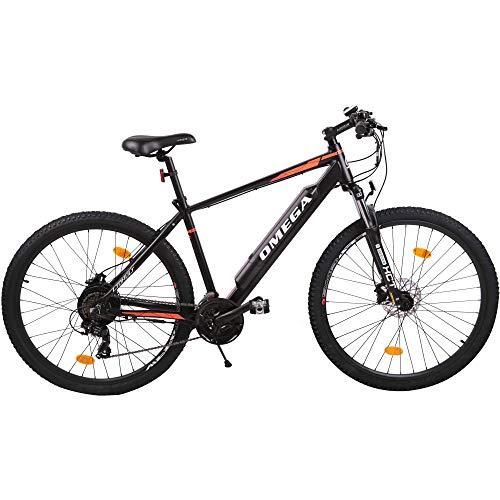 OMEGA BIKES Liohult Elektrofahrräder 2021 Aluminium MTB, 36V/12.8Ah Lithium-Ion Batterie, Elektrofahrrad mit Bafang 250W Motor, Shimano 21-Gang-Getriebe,E-Bikes für Männer,Frauen 27.5