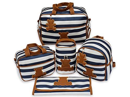 Kit de Bolsas Maternidade Listras Urso 5 Peças Material Térmico Impermeável Cor: Azul Marinho